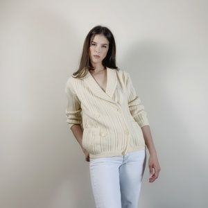 Vintage wool double breasted sweater cardigan.